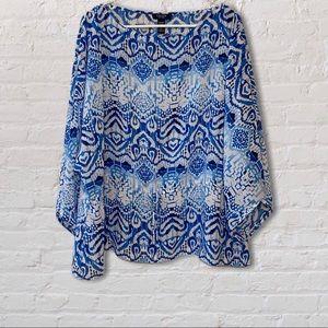 Chaps blue & white flowy patterned blouse, XL